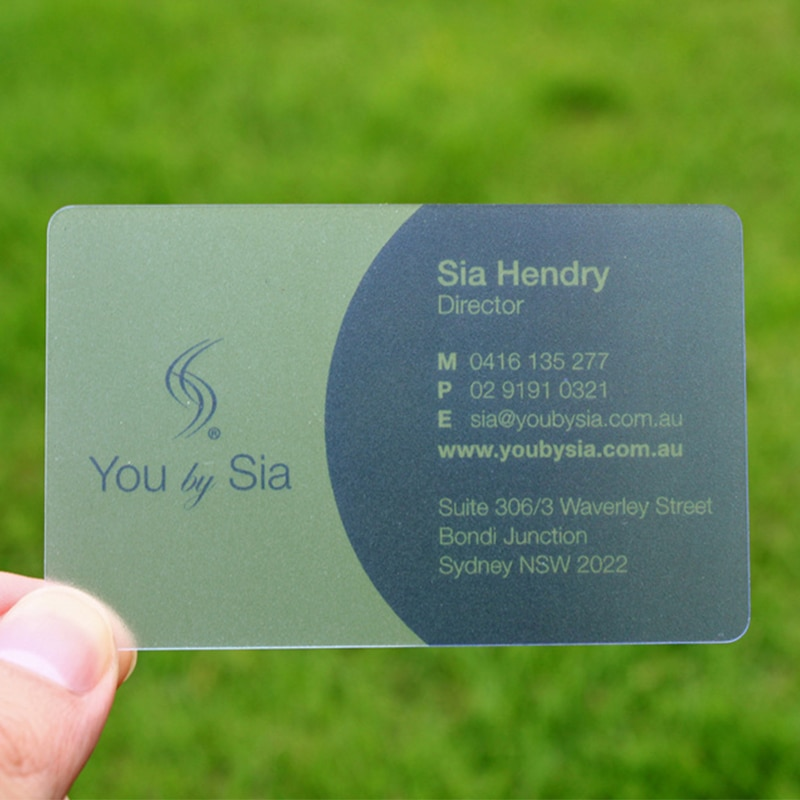 Custom Offset printing pvc transparent business cards glossy frosted surface