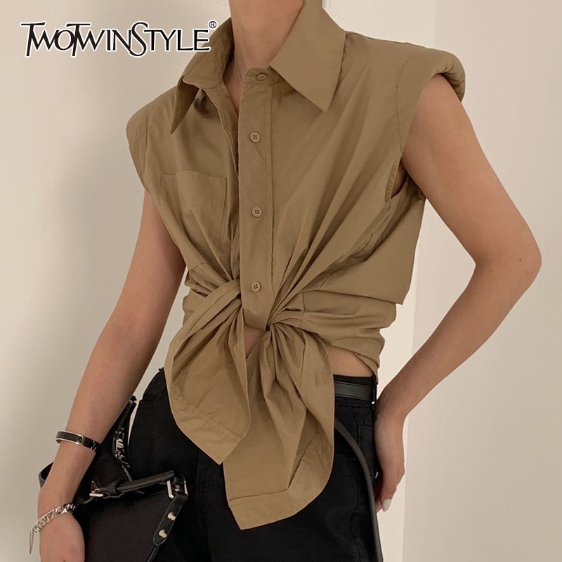 TWOTWINSTYLE Casual Loose Shirt Female Lapel Collar Sleeveless Ruched Elegant Bloues For Female Fashion Clothes 2020 Summer Tide