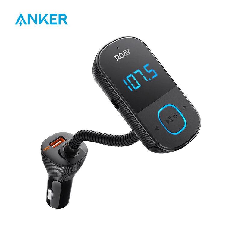 Anker Roav SmartCharge T1 ، بلوتوث جهاز إرسال FM للسيارة ، محول الصوت والاستقبال مع شاشة LED كبيرة ، PowerIQ 2.0
