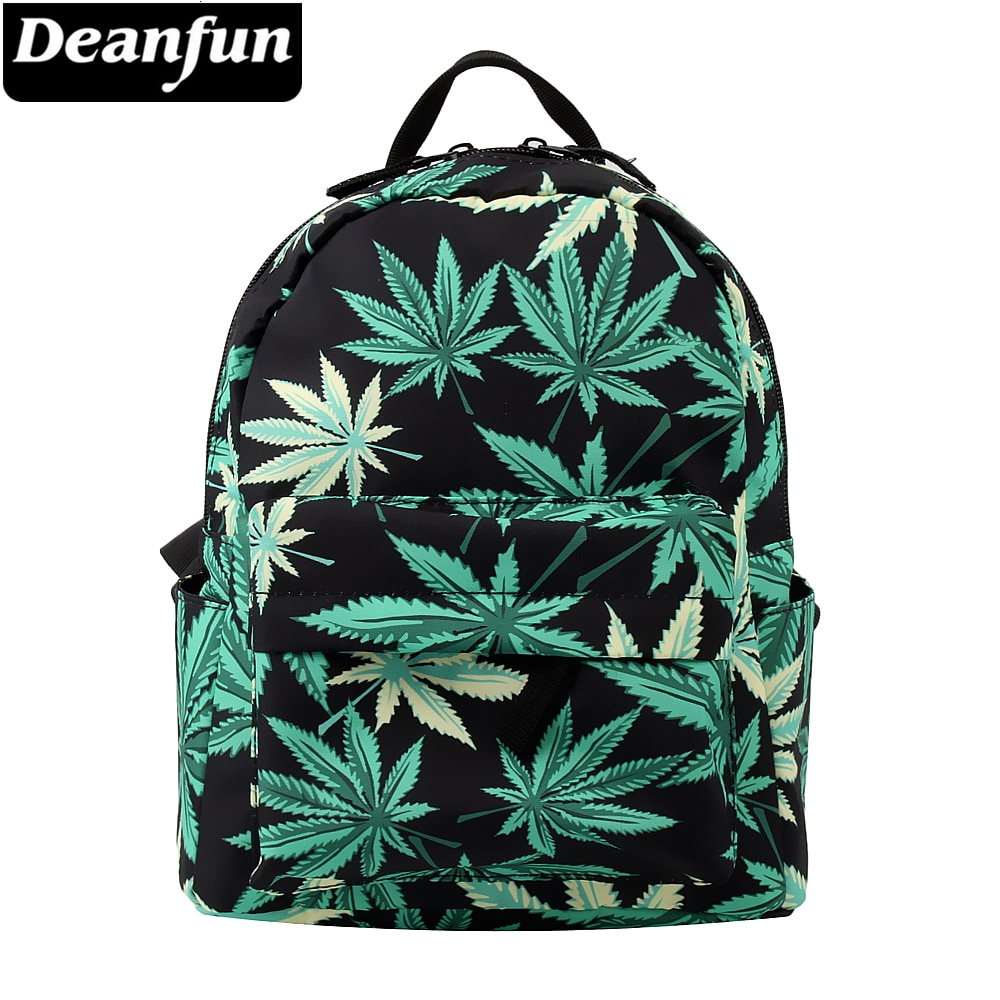 Deanfun Mini mochila 3D impreso verde cáñamo moda mochila impermeable mujeres bolsa de compras para chicas adolescentes MNSB-7