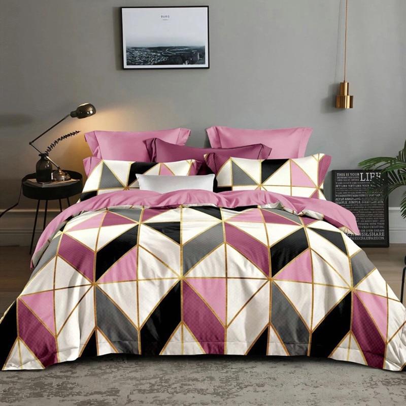 دنيسرووم-طقم سرير وردي ، مفرش سرير ، غطاء لحاف ، مقاس كينغ ، كوين ، هندسي ، DD08 #