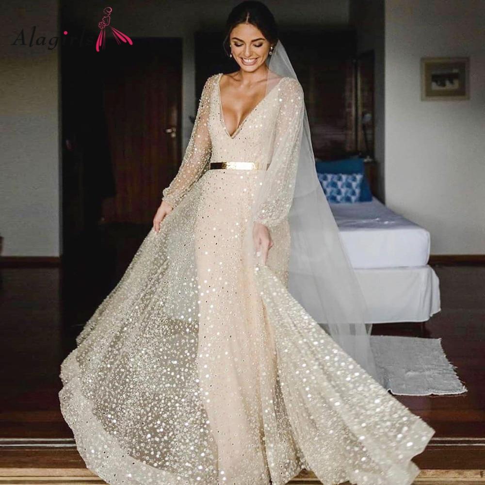 Sexy Sheath Sequin Wedding Dress Boho Backless Transparent Beach Dresses Floor Length  Vneck Gowns