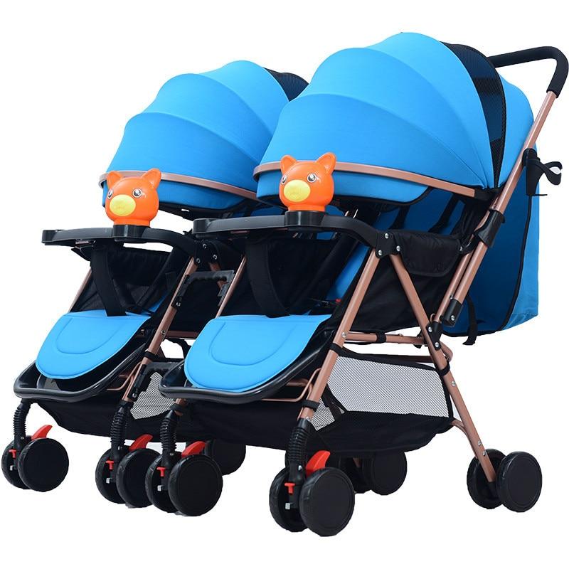 عربة أطفال مزدوجة قابلة للفصل ، عربة أطفال مزدوجة خفيفة الوزن قابلة للطي ، للجلوس أو الاستلقاء