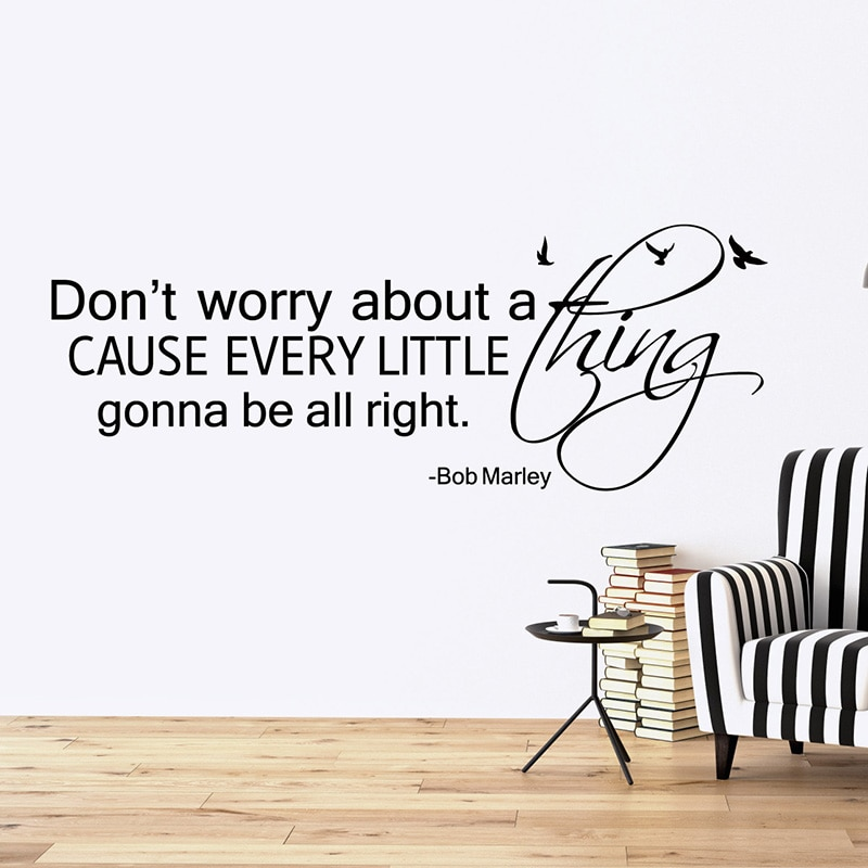 Don't worry about a thing, cause every little thing gonna be alright Wall Quotes Stickers, inspire quotes wall decal, love quote