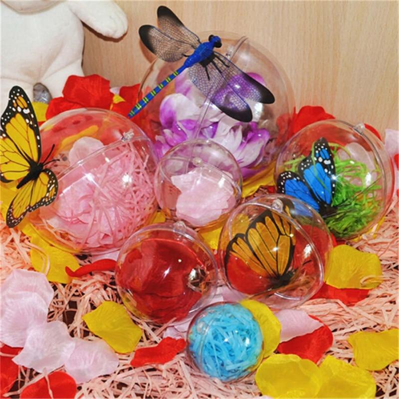 2020 New 4/5/6/7/8 cm Christmas Tress Decorations Ball Transparent Open Plastic Clear Bauble Ornament Gift Present Box Decor
