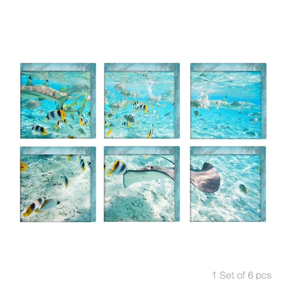 Aplique 3D para bañera de peces de mar Tropical, calcomanía para bañera, Tina, baño, calcomanía, Mural antideslizante, impermeable, autoadhesivo para el hogar