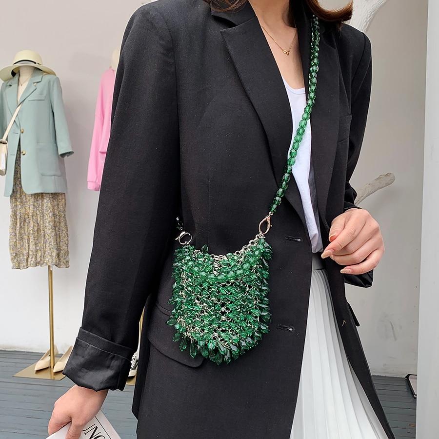 Women Party Metal Crystal Handbags Ladies Evening Shoulder Bag Luxury Design Beaded Handbag Women's Fashion Messenger Bags 2020