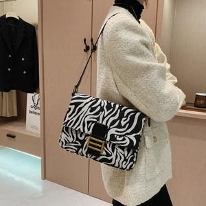 Popular Leopard Printed Canvas Shoulder Bags For Women Charm Zebra-stripe PU Leather Crossbody Bag Female Party Brand Handbags
