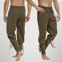 Pirate Pant For Men Renaissance Medieval Viking Costume Drawstring Shorts Halloween Adult Cosplay