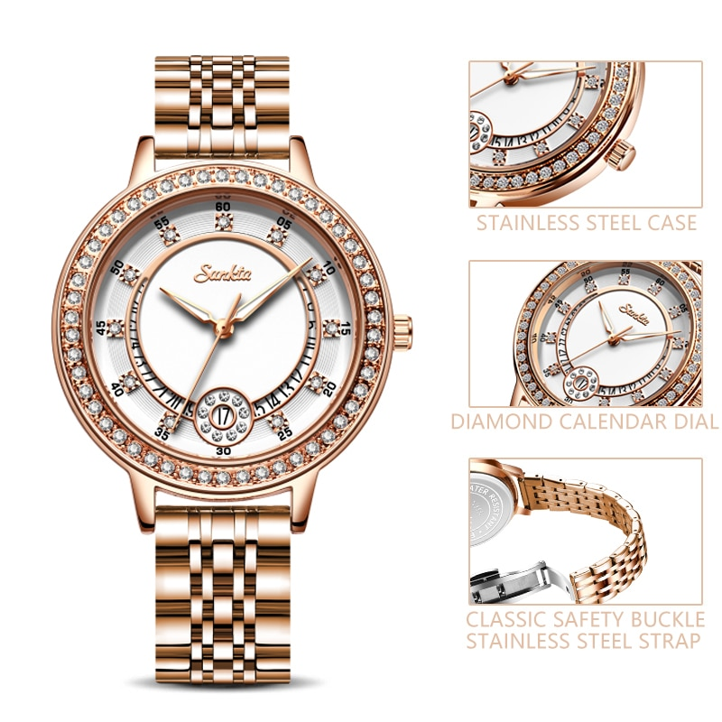 SUNKTA Woman Watches Rose Gold Top Brand Luxury Watch Women Quartz Waterproof Women Wristwatch Ladies Watches Clock Montre Femme enlarge