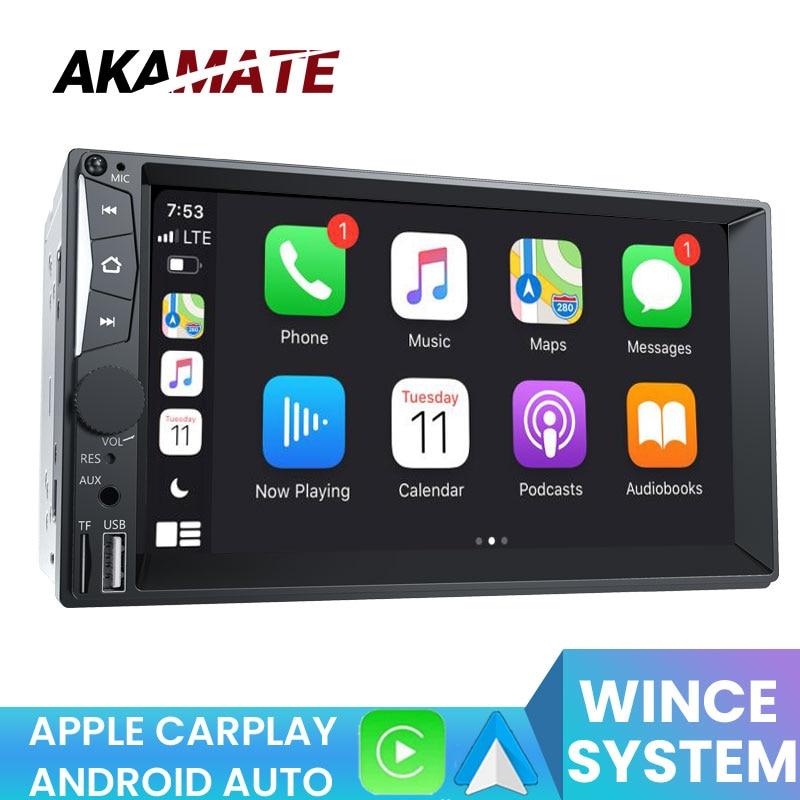 راديو سيارة AKAMATE 2din CA7052 راديو Apple Carplay يعمل بنظام أندرويد راديو سيارة مزود بتقنية البلوتوث وراديو إف إم للسيارة مشغل راديو عالمي مقاس 7 بوصات