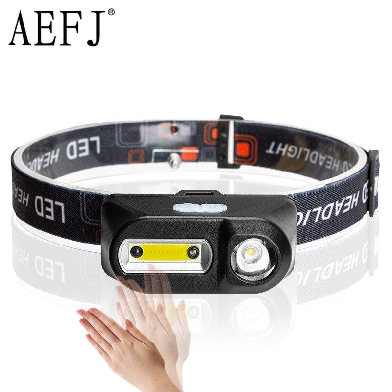 Linterna frontal LED XPE + COB con Sensor de movimiento IR, linterna frontal 18650 recargable por USB, linterna de Camping, luz de pesca