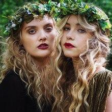 LEVAO-bandeau couronne en fleurs artificielles   Ajustable, couronne en feuille de fleur, pour femmes, bandeau pour coiffure de mariage style Boho