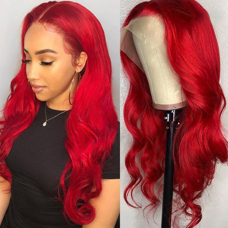 DLME الأحمر الاصطناعية الدانتيل شعر مستعار أمامي للنساء السود مقاومة للحرارة شعر الجسم موجة طويلة شعر مستعار مموج أحمر