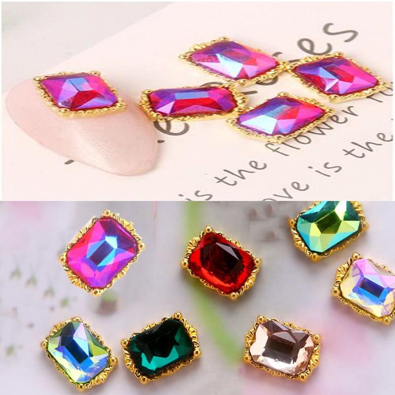 100PC/Set Jewelry Nail Crystal Rhinestone 8x11mm Jewelry Strass Metal Alloy AB Clear Champagne Jewelry DIY Manicure Art Supplies