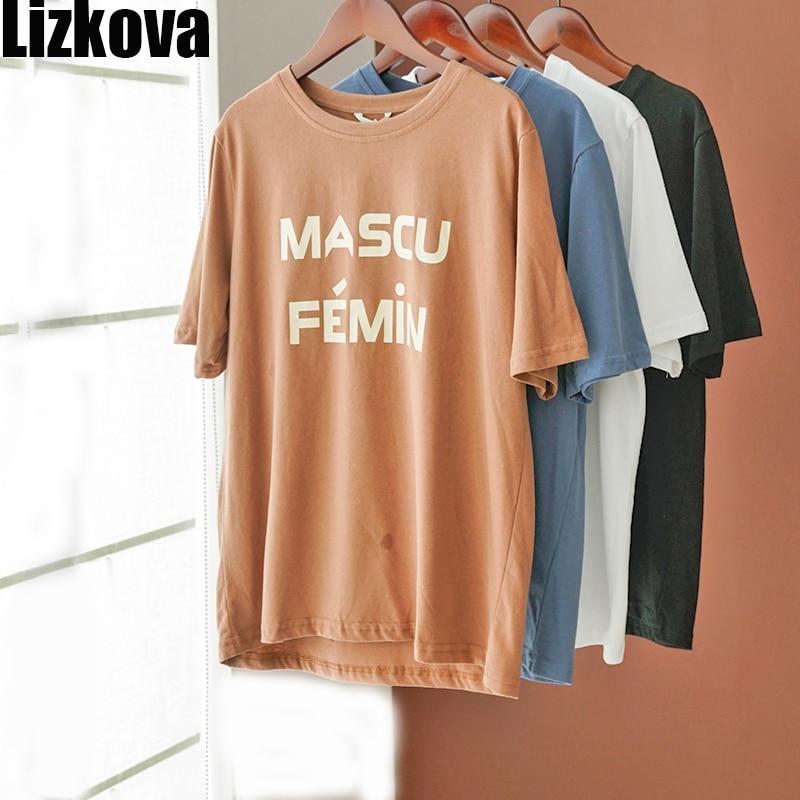 Lizkova Weiß T Shirt Frauen Brief Drucken Harajuku Casual Hemd 2020 Sommer Kurzarm Casual Tops Streetwear KT3205