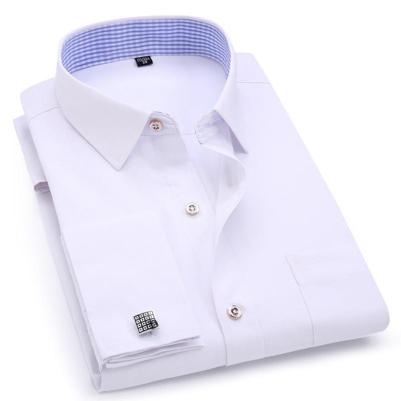 Мужские классические рубашки с французскими манжетами, синие и белые деловые повседневные рубашки с длинным рукавом, приталенные однотонн...