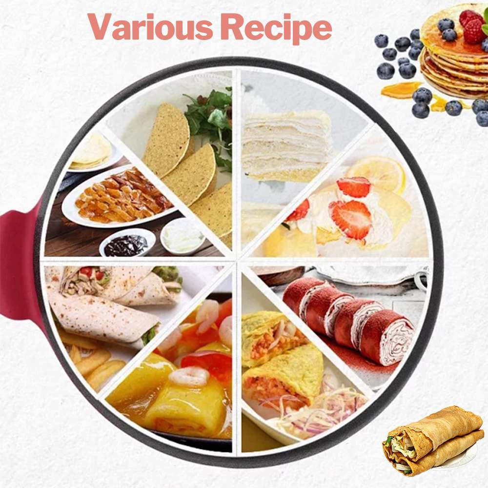 220V Home pancake pan Non-stick Electric Crepe Pizza Maker Pancake Griddle Baking Pan Cake Machine Kitchen Cooking Tools Crepe electric crepe maker 600w non stick pizza pancake machine griddle baking pan cake machine kitchen appliances
