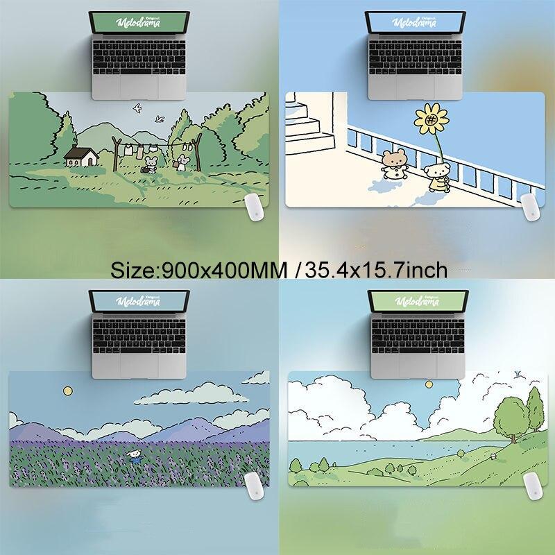 90x40 سنتيمتر القط و الأرنب HD سميكة ماوس الوسادة الأخضر لطيف الكرتون الحيوان شخصية المتضخم الألعاب لوحة المفاتيح الجدول حصيرة