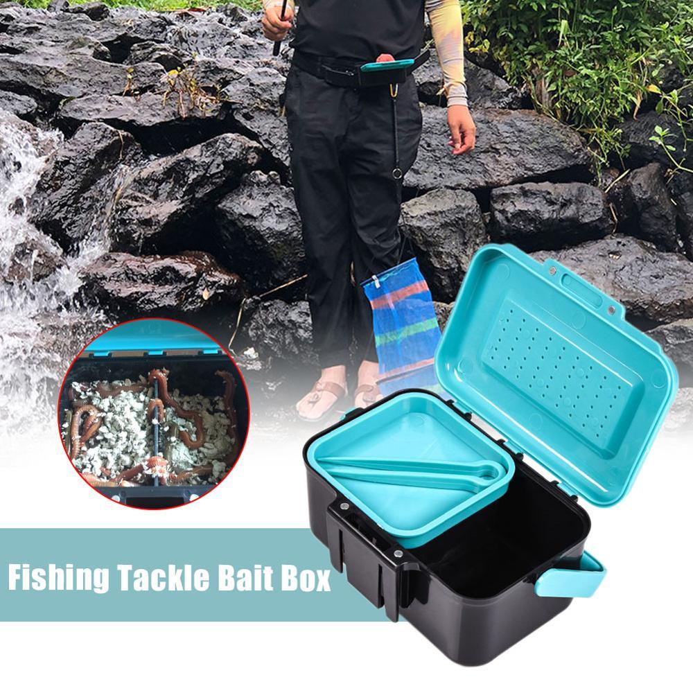 AliExpress - Blue Handle Hanging Waist Live Bait Box Earthworm Red Worm Belt Clip Bait Box Fishing Gear Accessory Box