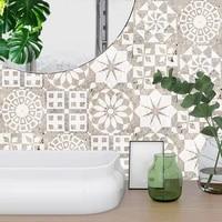 Autocollant mural de sol en marbre givre creme 10 pieces ensemble  papier peint de renovation de cuisine salle de bains  sparadrap antiderapant Beige