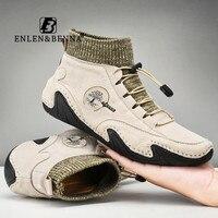 Мужские кожаные туфли, легкие водонепроницаемые высокие кроссовки, Нескользящие, ручная работа, лоферы, повседневная обувь, большие размер...