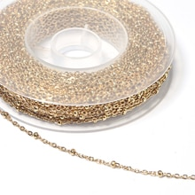 5 Yards/Roll Stainless Steel Cross Link Clip Beads Chain Gold Beaded Chain For DIY Necklaces Bracele
