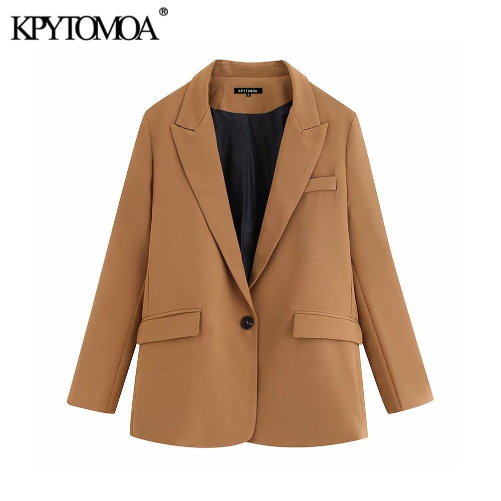 Vintage elegante bolsillos Oficina Lady Blazers abrigo mujeres 2020 moda Notched Collar manga larga prendas de vestir exteriores Casual Chaqueta Mujer