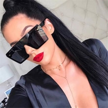 Oversized Square Sunglasses Women Luxury Brand Fashion Flat Top Red Black Clear Lens One Piece Men S