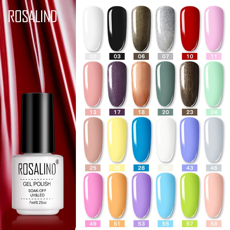 ROSALIND Nail Polish Vernis Semi Permanent Hybrid Varnish Gel polish uv Color Gel Manicure Primer Top Coat Glitter Nail Art недорого