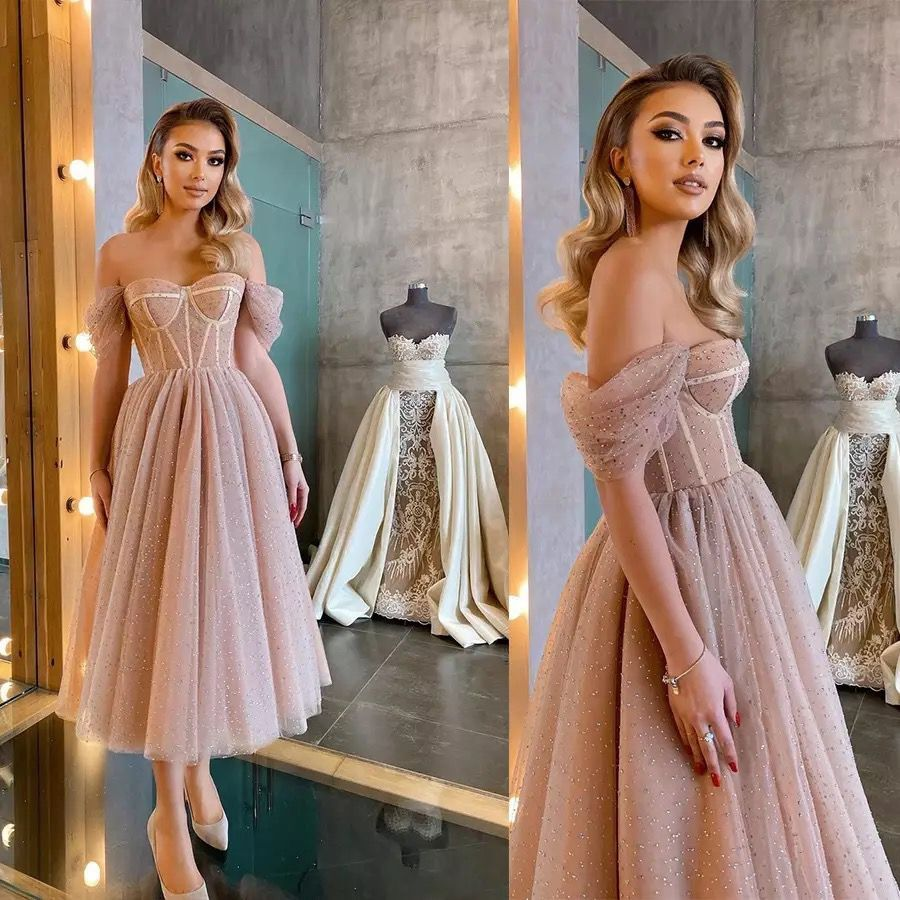 Dusty Pink Glitter Tulle Prom Dresses Off The Shoulder Short Sleeves Boning Tea Length Prom Gown For