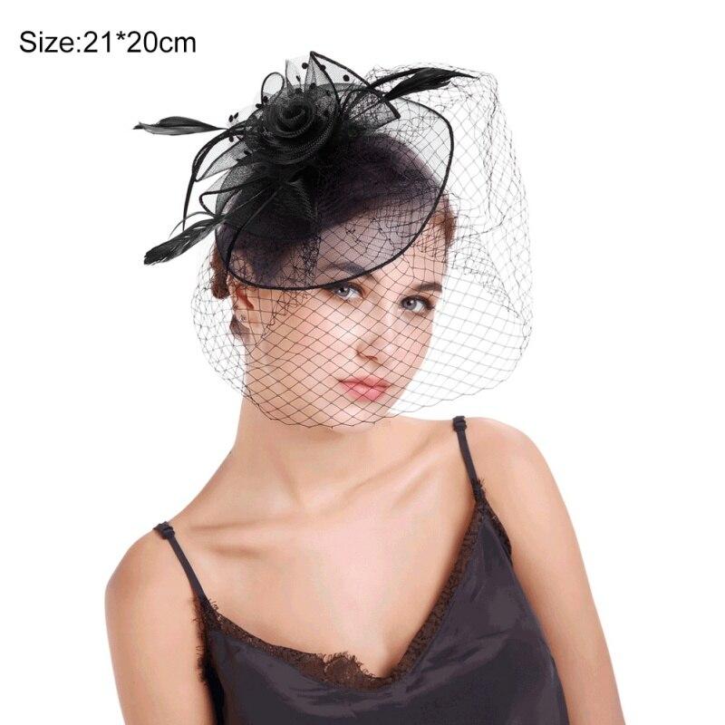 Sombrero tocados de hilo de red estilo Retro de Europa y América con pinza para el pelo, para el cabello con diadema Accesorios nupciales, accesorios para el cabello