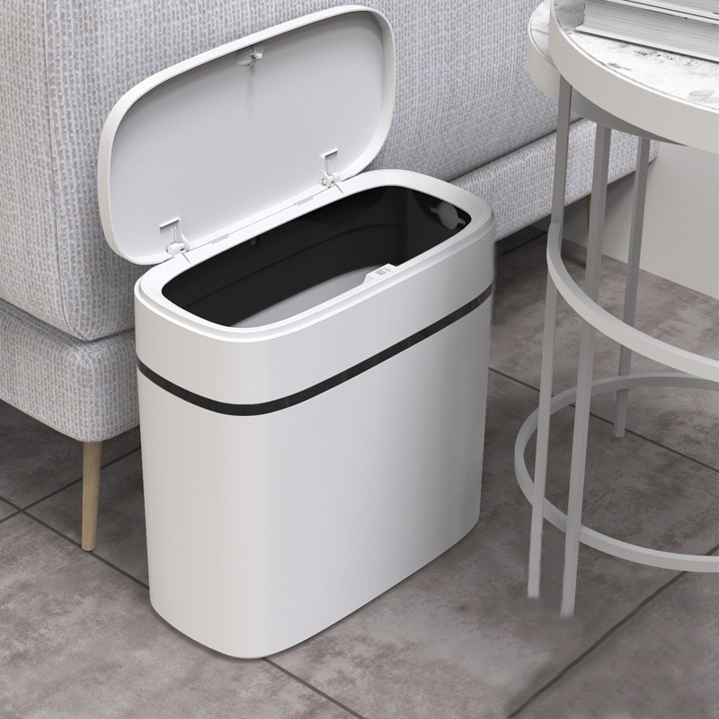 12L Trash Can Household Bathroom Kitchen Waste Bins Press-Type Trash Bag Holder Garbage Bin for Toilet Waterproof Narrow Seam