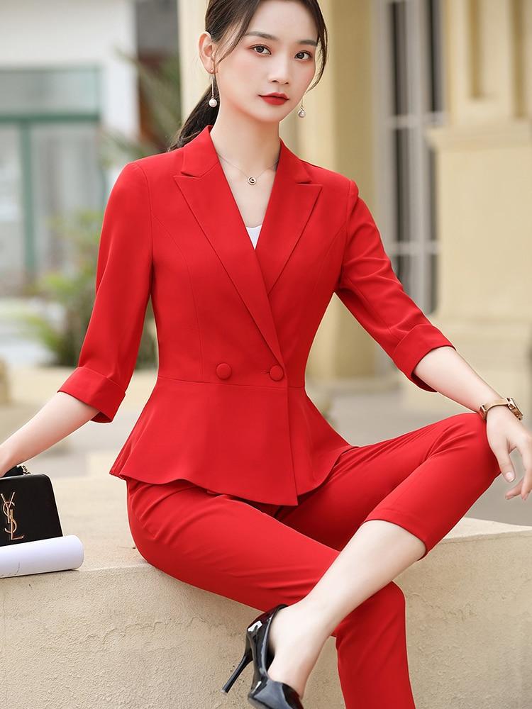 السيدات أنيقة الأحمر الرسمي تصاميم موحدة pantsuit مع السراويل والسترات معطف OL أنماط المهنية بليزرات بنطلون مجموعات