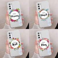 flowers leaves month text art phone case transparent for oppo reno a 1 2 3 4 5 7 8 z 2z se ace pro moible bag
