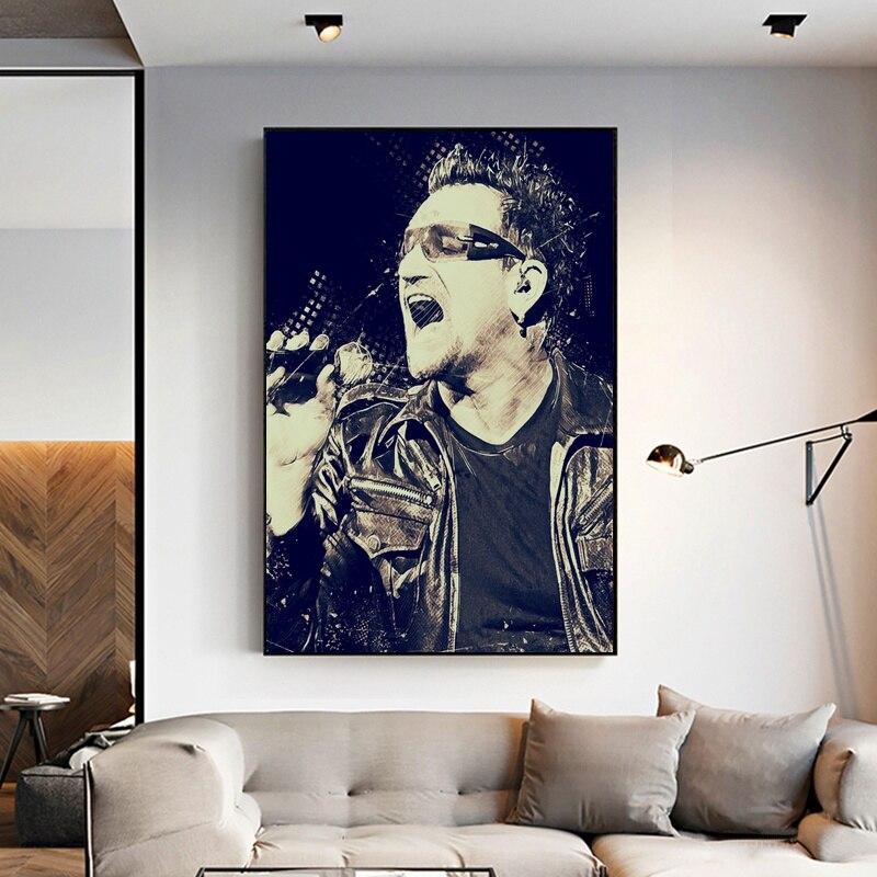 BONO U2 Poster Art Canvas Painting Room Decor