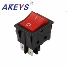 10PCS KCD4-201-4P 6pins 3nd gear 31x25mm Double buckle rocker switch for Water heater