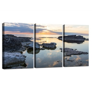 Scandinavian Seascape Poster Print Coastline Sea Canvas Wall Art Framed Ready To Hang Picture Nature Landscape Painting Decor