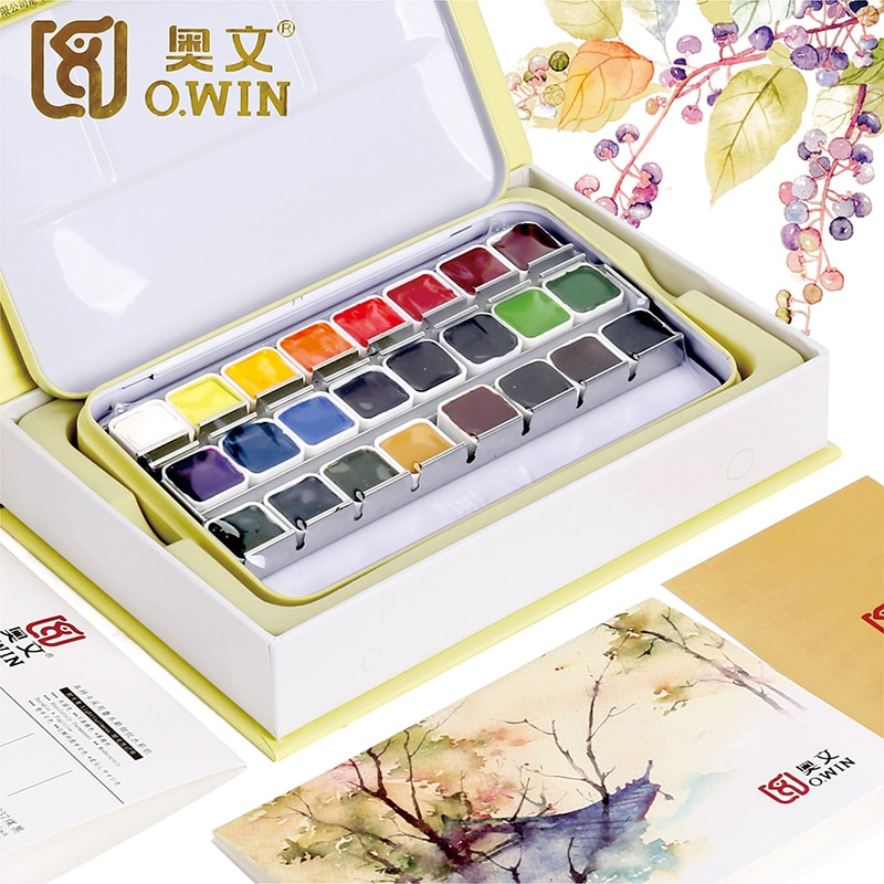 Owin Watercolor Paint 24/36 Color Set Half Pan Solid Pigment Portable Metal Box Paper for Drawing Profession Art Paint Supplies