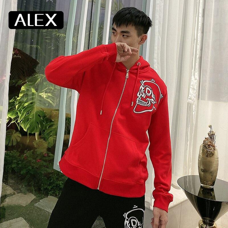 AlexPlein-سويت شيرت بقلنسوة للرجال ، ملابس الشارع ، تطريز جمجمة ، 100% قطن ، بدلة رياضية عصرية ، أحمر