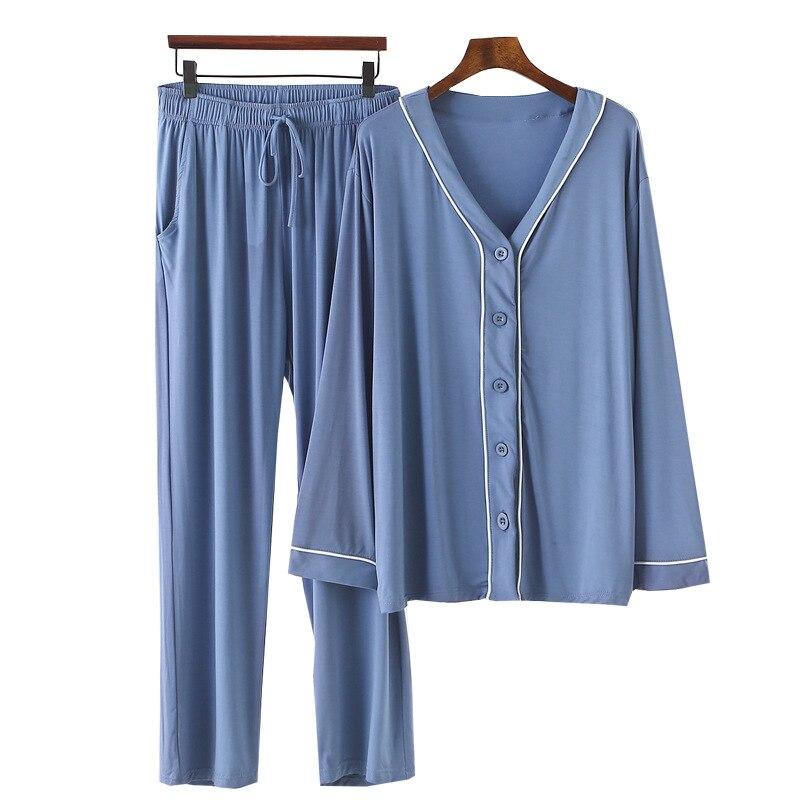 Pijamas de manga larga para Mujer, ropa de Modal holgada de talla...