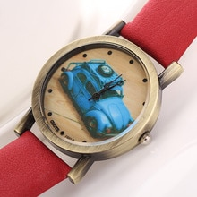 2021 New Retro Punk Style Watches For Women Fashion Casual Bus Pattern Leather Quartz Watch Female C