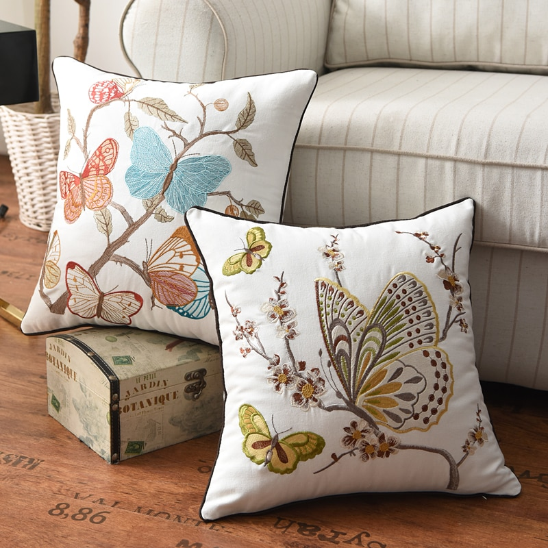AliExpress - Butterfly Cushion Cover 45x45cm Floral Country Style Pillow Cover Cotton  Embroidery Suqare Home decoration  for Living Room