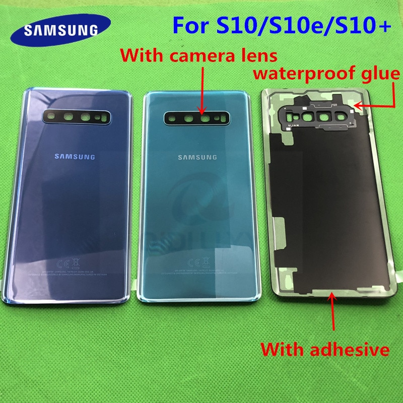 Замена заднего стекла для Samsung Galaxy S10 G973F S10 + G975F S10E G970 крышка батареи Задняя Дверь Корпус чехол + водонепроницаемый стикер