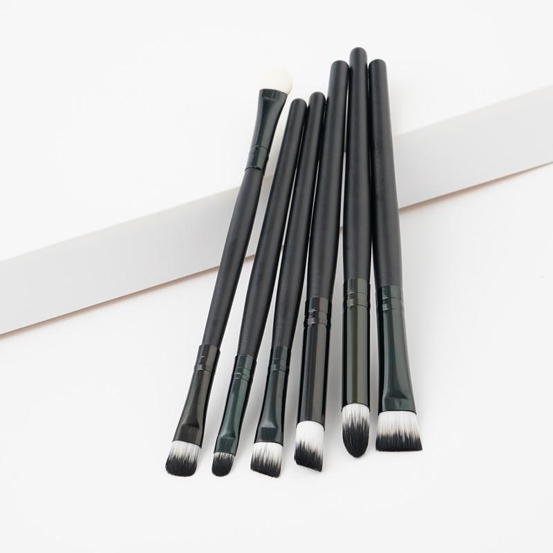 Conjunto de pincéis de maquiagem profissional, 6 peças, delineador completo para sombra, sobrancelha, com cabo de madeira preto para mulheres