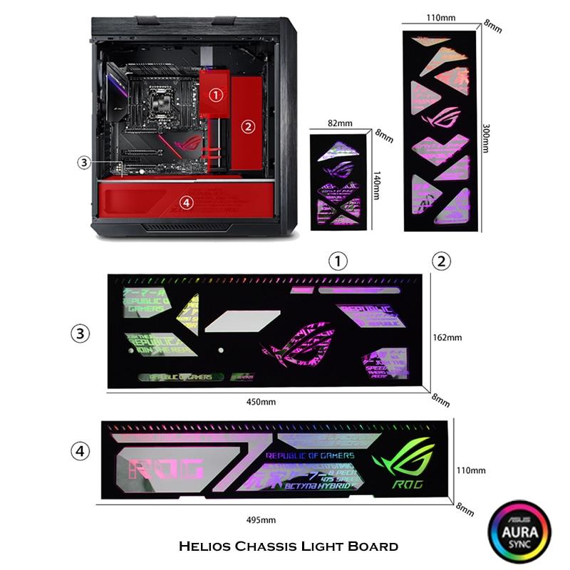 RGB Light Panel Board 4 In 1 For Asus ROG Strix Helios Case, Black Miror LED Decoration MOD Kit, 5V Illusion Lighting Pollution