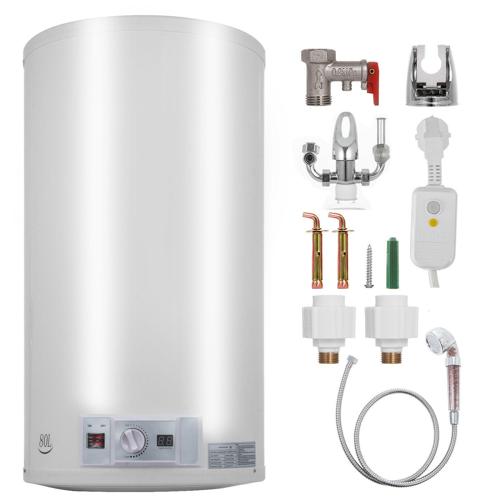 VEVOR-سخان مياه كهربائي 80 لتر ، غلاية ، خزان ، رأس دش عمودي