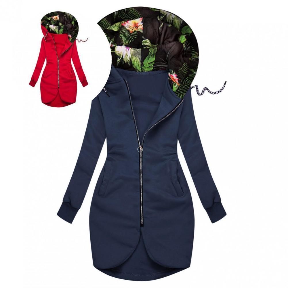 drawstring queen print hoodie Lady Sweatshirt Hooded Streetwear Patchwork Floral Leaf Print Patchwork Drawstring Hoodie   Hooded Jacket  for Party
