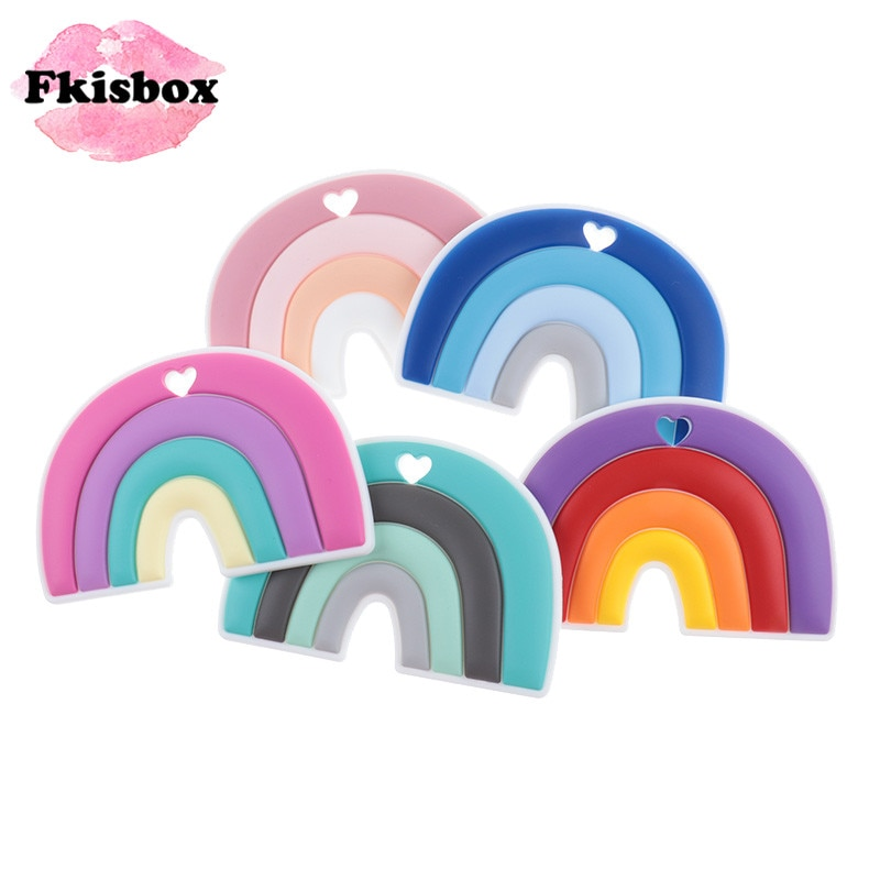 Fkisbox 10pcs Rainbow Silicone Cartoon Baby Teether BPA Free Infant Teething Toys Accessories Nursing Pacifier Soothing Chain