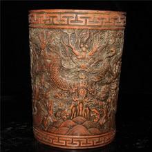 Porte-rangement en cuivre rouge vieux pékin   Vieux pékin, articles en cuivre pur, stylo dragon sculpture, porte-bijoux